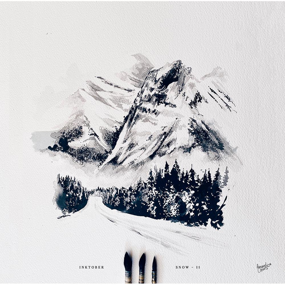 illustration d'un paysage enneigé Montagne