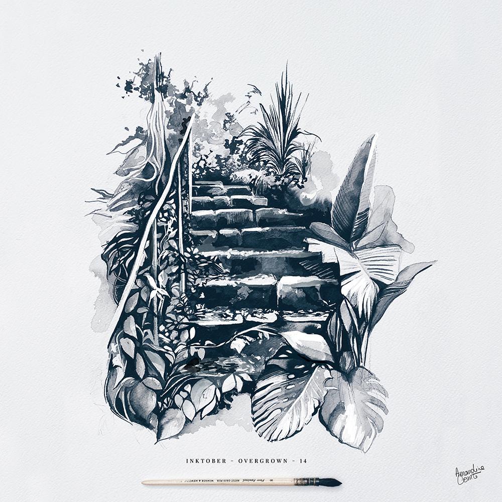Illustration escalier et végétaux
