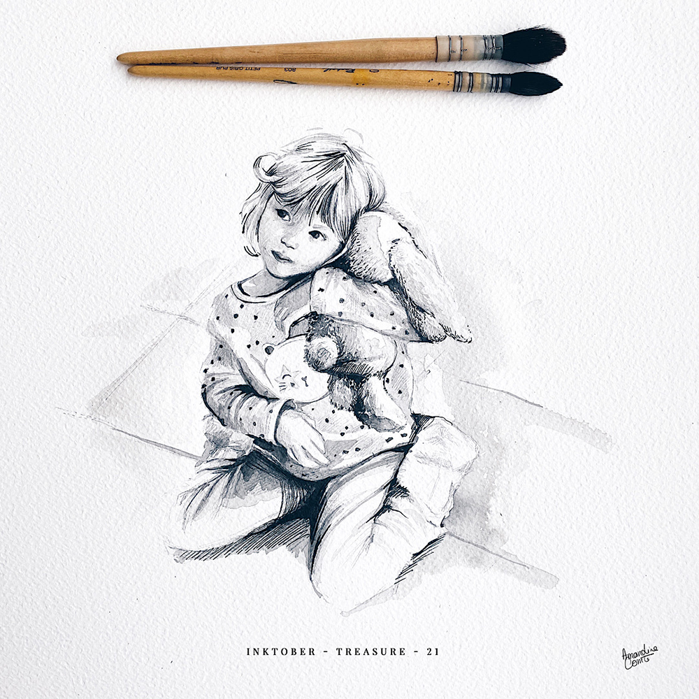 Portrait enfant à l'encre