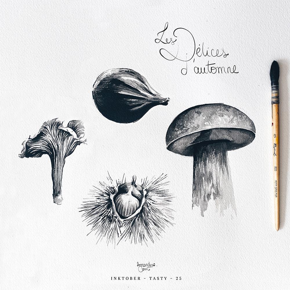 Illustration fruits d'automne et champignons