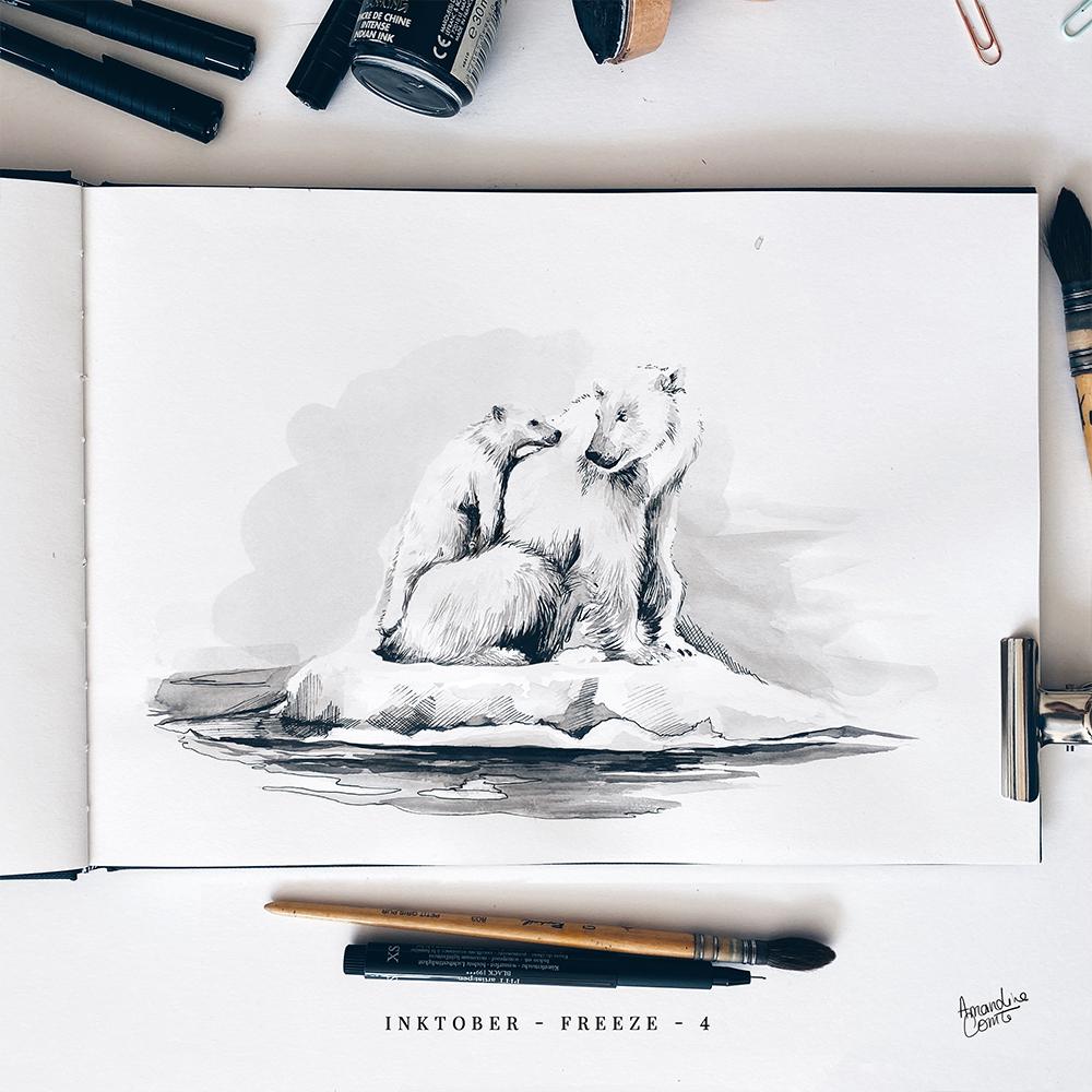 Photo d'une illustration d'une maman ours et d'un bébé ours sur la banquise